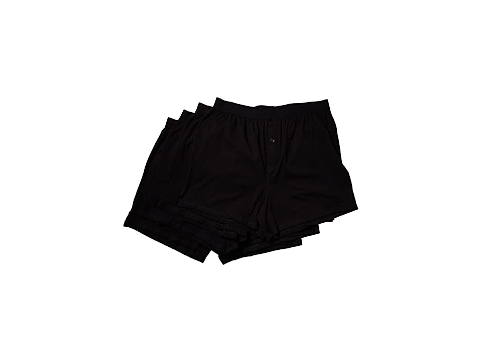 PACT Organic Cotton Knit Boxers 4-Pack (Black) Men