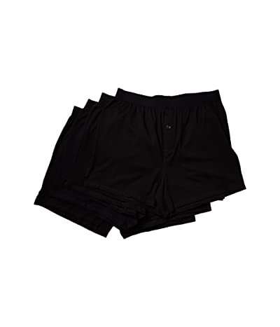 PACT Organic Cotton Knit Boxers 4-Pack (Black) Men