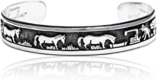 $580Tag Storyteller Silver Certified Navajo Native American Cuff Bracelet 1255 Made by Loma Siiva
