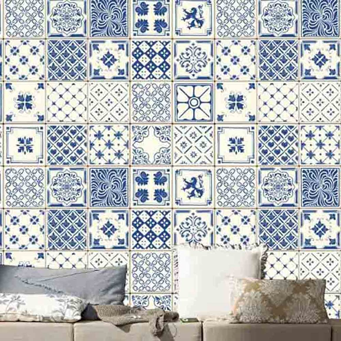 Peyan Blue Tiles Stickers European Style Bedroom Wall Stickers Kitchen Wallpaper Decorative Tiles (8x8 inches,Set of 20)