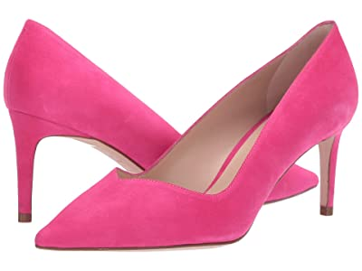 Stuart Weitzman Anny 70mm Pointy Toe Pump (Flamingo Suede) Women