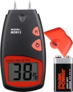 Digital Wood Moisture Meter - Tiaoyeer Handheld LCD Moisture Tester Damp Moisture Tester Detector with 2 Spare Sensor Pins and one 9V Battery(Both Included) Range 5% - 40%, Accuracy: +/-1%, MD812