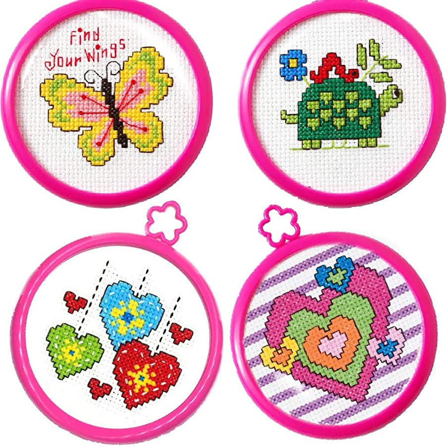 4 Item Bundle of My 1st Cross Stitch Kits: Butterfly, Hearts, More Hearts and Turtle