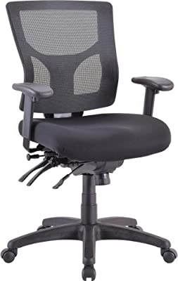 Lorell Multifunctional Mesh Mid-Back Executive Chair, Black