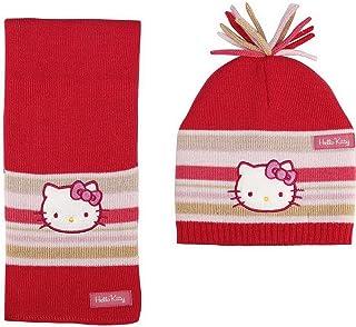 rosso e grigio da bambina Con sciarpa 6-9 ans cuffia e guanti in pile da 3 a 9 anni grigio 54 motivo: Hello kitty