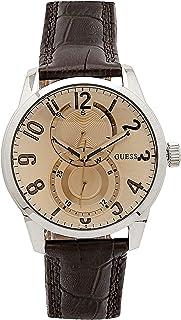 Guess - W95127G2 - Montre Homme - Quartz Analogique - Cadran Beige - Bracelet Cuir Marron