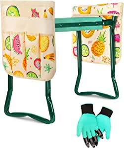 VStoy Garden Kneeler and Seat Heavy Duty Gardening Bench for Kneeling,Sitting Folding 2 in 1Chair and Stool,Outdoor Knee Pads for Women/Men Floor Work Gifts, Free 2 Tool Pouch & Waterproof Gloves.