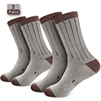 Isnowood 2 Pairs Thermal Wool Crew Hiking Socks for Men & Women