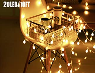 20 LED Globe String Lights, Ball Christmas Lights, Indoor / Outdoor Decorative Light, Battery Powered, 10 Ft, Warm White Light - for Patio Garden Party Xmas Tree Wedding Decoration