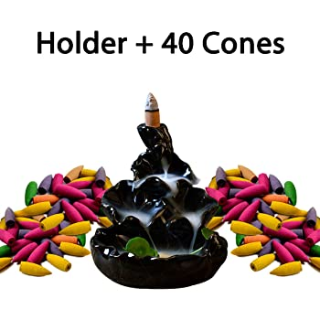 Ivenf Ceramic Censer, Backflow Variety Mixed Aromatherapy Incense Cones and Holder/Burner Set, Appox. 40 Cones(8 Kinds Assorted) & 1 Holder