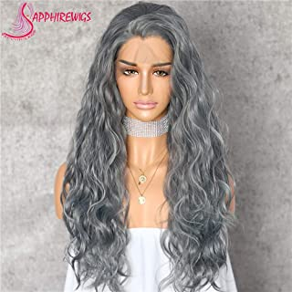 Sapphirewigs Gray Color Color Natural Wave Silk Hair Halloween Women Wedding Party Daily Makeup Present Synthetic Lace Front Wigs