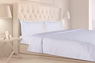 haus & kinder Satin Stripes 100% Cotton Double Bedsheet King Size with 2 Pillow Covers, 210 Thread Count (White)