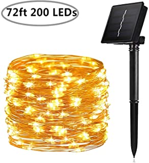 Solar String Lights, 200 LED Solar Fairy Lights 72 Feet 8 Modes Silver Wire Lights Waterproof Outdoor String Lights for Garden Patio Gate Yard Party Wedding Indoor Bedroom - Warm White