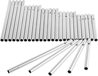 COSMOS Pack of 30 Wind Chime Tubes for Home Garden Outdoor Hanging Decorations, 5 Different Length, Silver Tone Color Empty Tubes