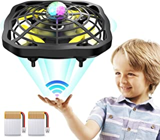 HLDJYB Hand Operated Drones Flying Toys UFO Mini Ball 360 Rotating LED Light Infrared Induction Auto-Avoid Obstacles with 2 Rechargeable Batteries, Easy Indoor Outdoor Drone for Kids