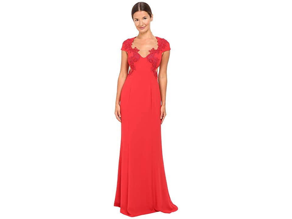 Marchesa Notte Column Gown w/ Beaded Appliques (Red) Women