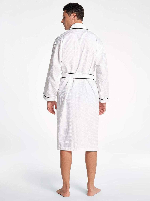 SIORO Waffle Robes for Men Lightweight Bathrobe Knit Shower Bath Cotton Housecoat M-XXL