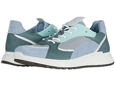 ECCO ST.1 Trend Sneaker (Dusty Blue/White/Concrete/Lake Calf Suede/Yak Leather/Yak Nubuck) Women