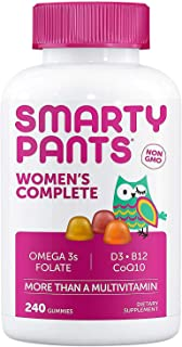 SmartyPants Women's Complete Multivitamin: Non-GMO, Multivitamin Plus Omega 3, Folate, Vitamin D3, Vitamin B, CoQ10, 240 A...