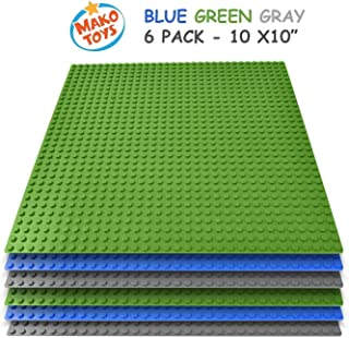 """Mako Toys Lego Compatible Baseplates Baseplates 10"""" x 10"""" in Blue and Green, Works with Major Brick Building Sets, Wonderful Plate for Kids (6 Pcs)"""