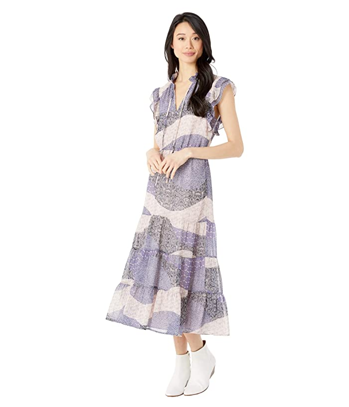 BB Dakota  All Mixed Up Patchwork Floral Printed Chiffon Midi Dress (Steel Lavender) Womens Clothing