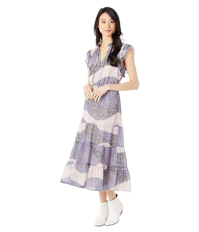 BB Dakota  All Mixed Up Patchwork Floral Printed Chiffon Midi Dress (Steel Lavender) Womens Clothing