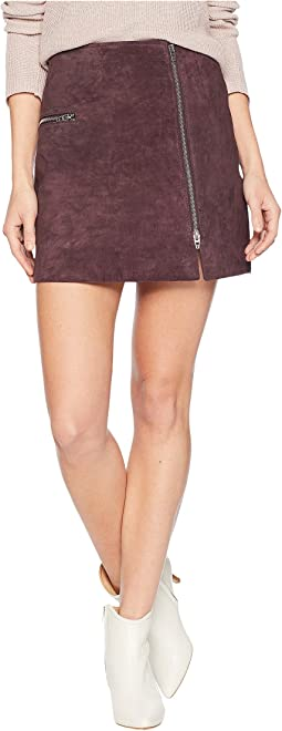 Real Suede Mini Skirt with Zipper Detail in Blackberry