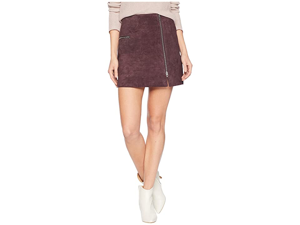 Blank NYC Real Suede Mini Skirt with Zipper Detail in Blackberry (Blackberry) Women
