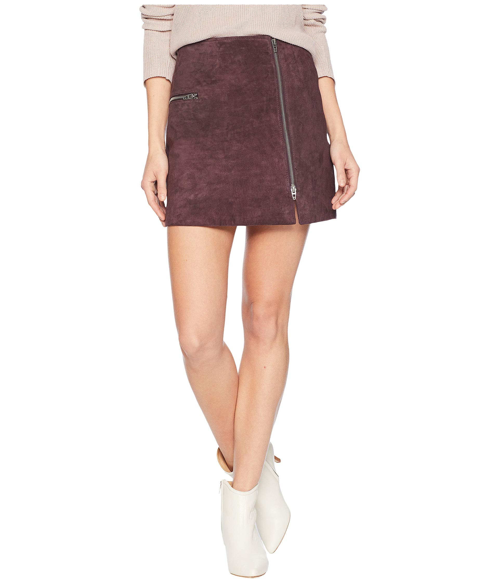 Blackberry Suede Skirt With In Blank Mini Real Zipper Nyc Detail qgIREz