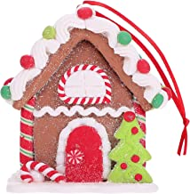 Natal Gingerbread House Ornament Resin Christmas Hanging Ornament Mini House for Christmas Tree Holiday Party Home