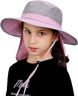 قبعة شمس للأطفال الصغار ذات حافة واسعة قبعة دلو مع رقبة وغطاء للرأس للأطفال الأولاد والبنات العمر 1-5/5-10