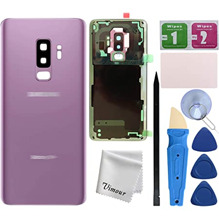 Vimour Back Cover Glass Replacement for Samsung Galaxy S9+ Plus G965U All Carriers with Pre-Installed Camera Lens, All The Adhesive and Professional Repair Tool Kits (Lilac Purple)