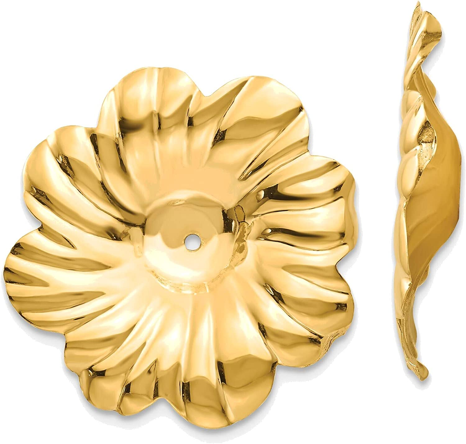 Polished Floral Earring Jackets in 14K Yellow Gold