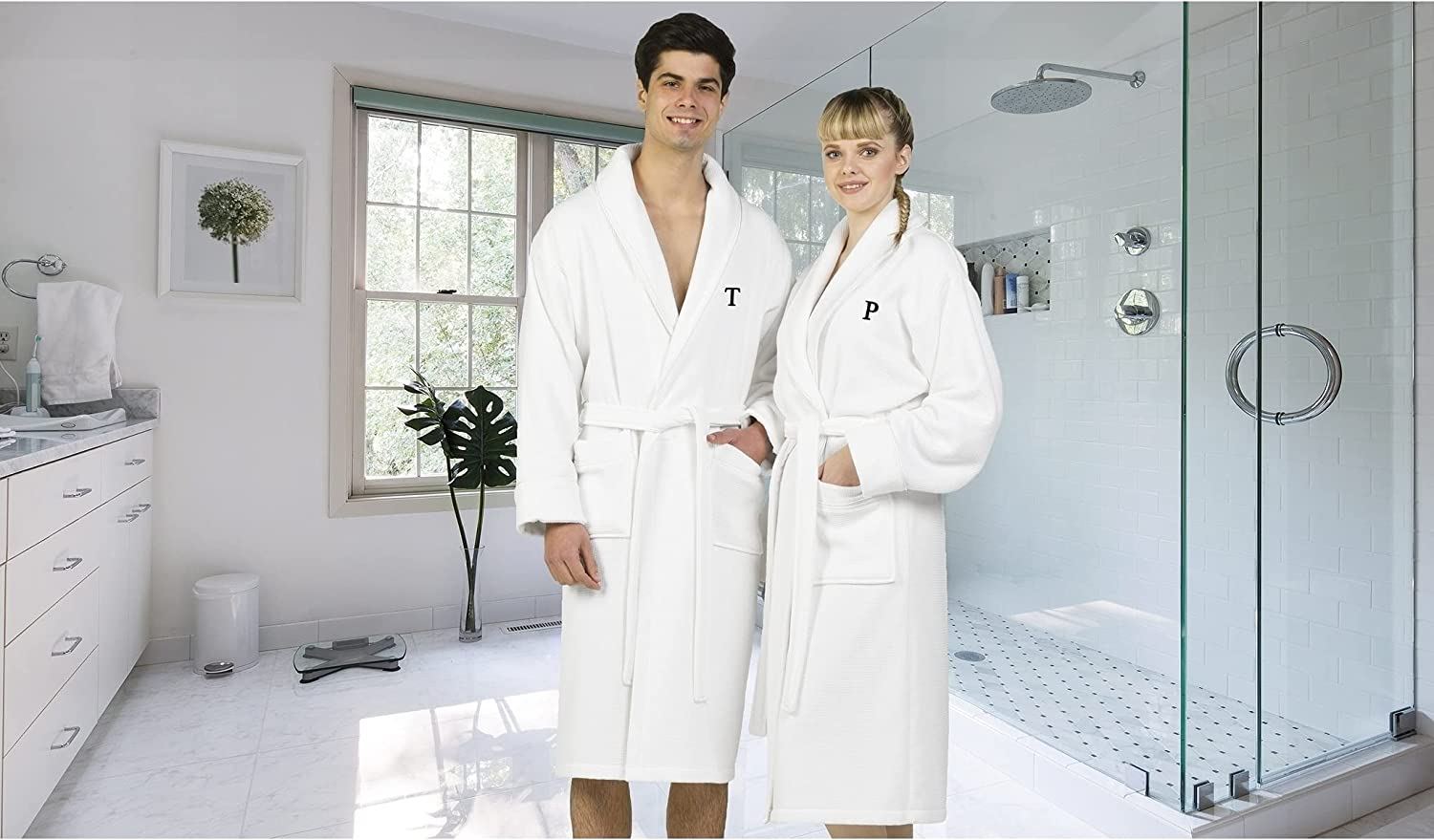 Authentic Hotel and Spa White Unisex Turkish Cotton Waffle Weave Terry Bath Robe with Black Block Monogram N L-XL