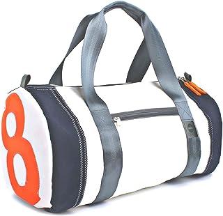 360° Grad Sport- und Reisetasche, Weekender, Rucksack groß aus Segeltuch, Unisex, Pirat weiss Zahl Neon Orange Balken Navy Gurt grau, maritim, wetterfest,