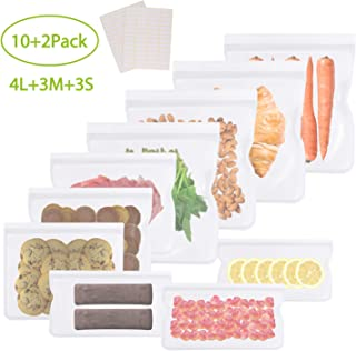 GVOO Bolsas de Almacenamiento para Alimentos,10 Bolsas Reutilizables para Almacenar Sándwich Verduras Frutas Cosmético Bolsas Congelar 100% a Prueba de Fugas