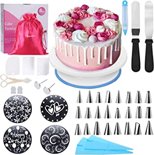 Cake Decorating Supplies Kit with Rotating Cake Turntable,Baking Supplies for Beginners,Kids(Gift bag included),4 Cake Stencils,24 Stainless Icing Tips,2 Pastry Bags,3 Cake Scrapers,2 Icing Spatula