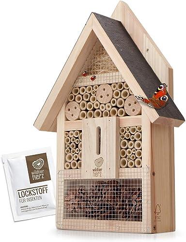 wildtier herz Hôtel à Insecte en Bois - Imperméable et Résistant aux Intempéries, Maison Insectes, Hotel a Insectes a...