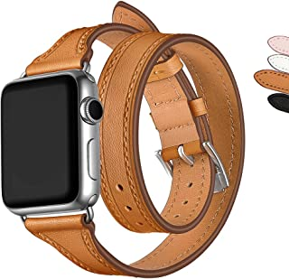 WAfeel Genuine Leather Bands Compatible for Apple Watch 38mm Double Tour T-Shape Designed Thread Slim Replacement iwatch Strap Metal Clasp for iWatch Smart Watch Series3 Series 2 Series 1 (Brown-38mm)