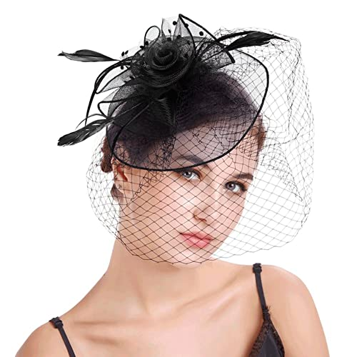4bdacd78 Urban CoCo Women's Elegant Flower Feather and Veil Fascinator Cocktail  Party Hair Clip Hat