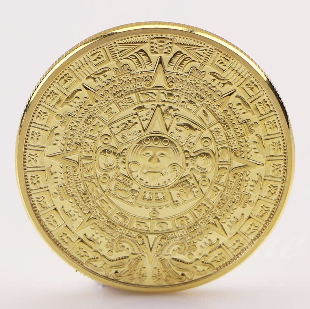 5pcs Gold Coin Mayan calendar Aztec Mexico 1oz Gold Plated Souvenir Coin