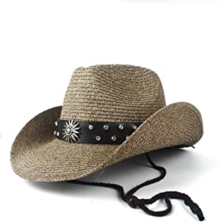 2019 Women Womens Summer Straw Hollow Western Cowboy Hat for Women Gentleman Cowgirl Jazz Church Cap Dad Sombrero Beach Sun Hat Casual Adjustable Ladies Fashion (Color : Coffee, Size : 56-58)