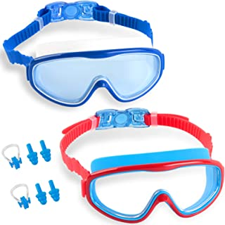 Elimoons Kids Swim Goggles 2-Pack for Children and Early Teens Age 5-15,Wide Vision, Anti-Fog, Waterproof, UV Protection