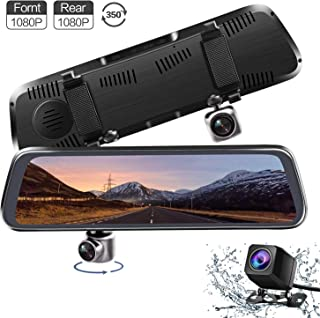 Monland Nuovo 12 Pollici 4G Android 8.1 Dash Cam 1080P Dual Lens WiFi Dash Cam GPS ADAS Specchietto Retrovisore Dvr di Guida per Auto