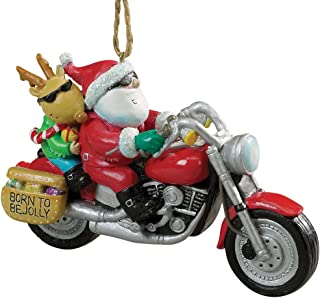 Cape Shore Santa and Reindeer Riding a Motorcycle Christmas Holiday Ornament
