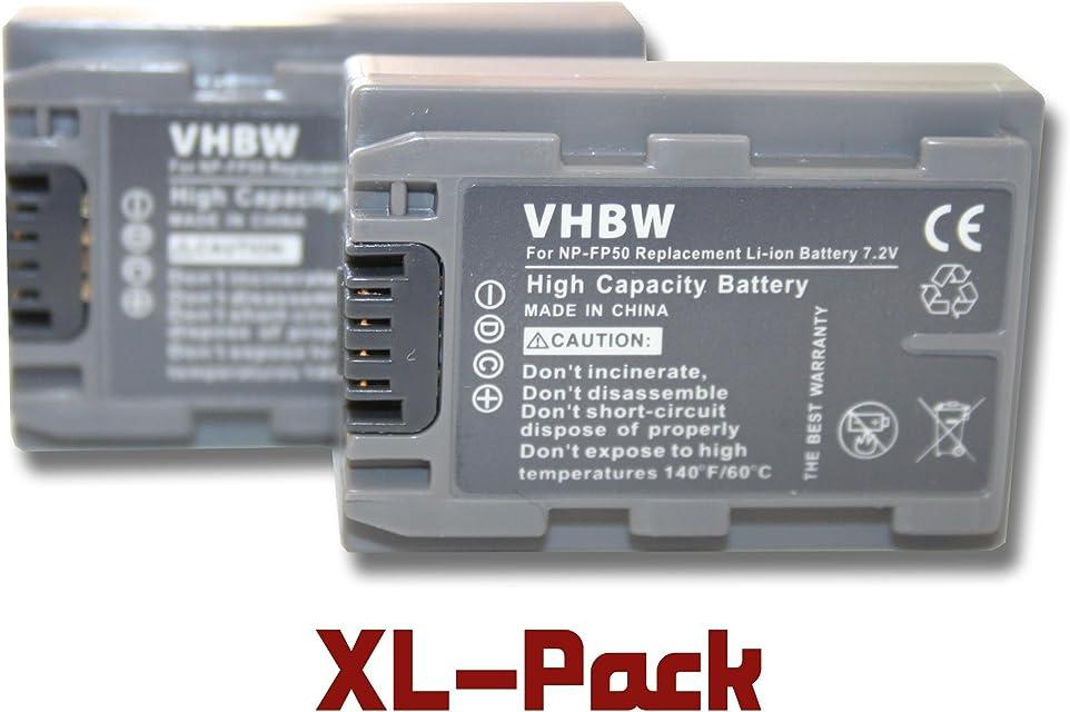 Set x2 baterías vhbw 600mAh para videocámara sustituye Sony NP-FP30 NP-FP50 NP-FP51 NP-FP60 NP-FP70 NP-FP71 NP-FP90 NP-FP91