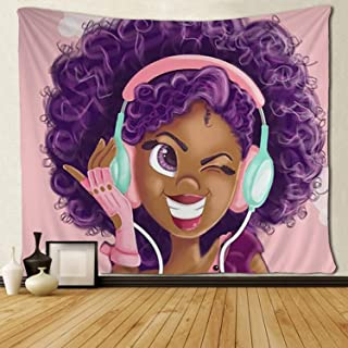 SARA NELL Tapestry Black Girl African American Girl Love Music Tapestries Hippie Art Wall..