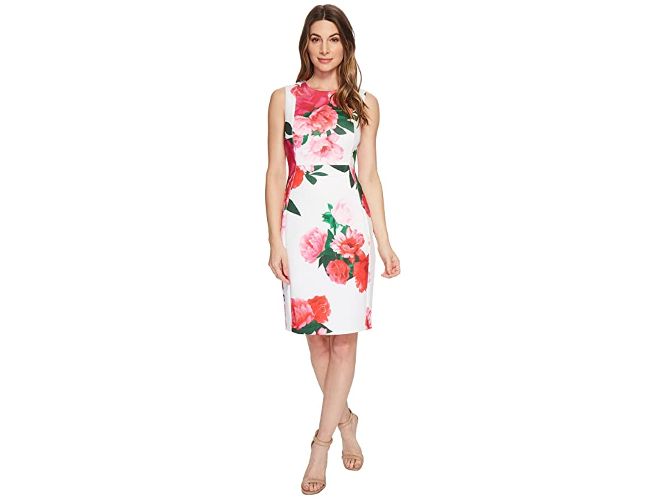 Calvin Klein Floral Sheath CD8M97EH (White Multi) Women