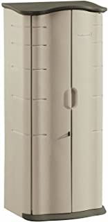 Rubbermaid Vertical Resin Weather Resistant Outdoor Garden Storage Shed, 2x2.5 Feet, Olive and Sandstone