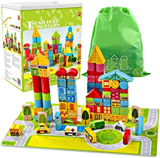 Liberty Imports 100 Piece Wooden City Building Blocks Variety Set | Bright Colored Natural Wood Kids Stacking Toy with Pla...